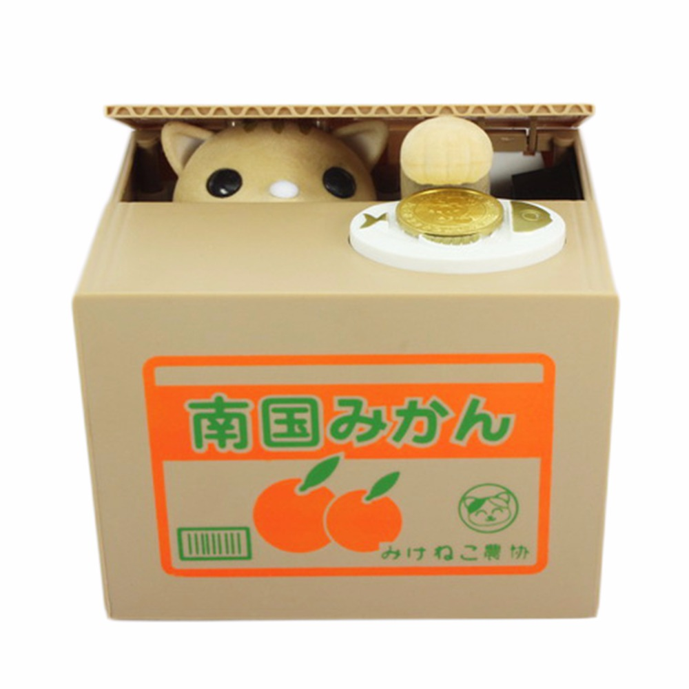 Piggy Bank Cat Steal Money Coin Saving Box Pot Case Battery Operated Gift Perfect Piggy Bank For Home And Office Desks