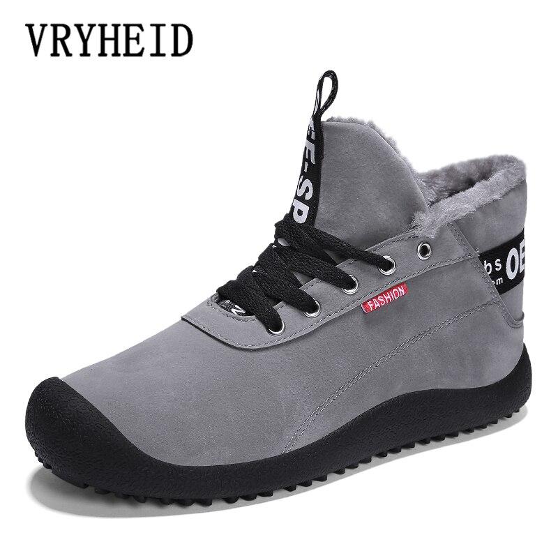 VRYHEID Big Size 39-48 New Winter Men Boots Waterproof Comfortable Snow Boots Fur Warm Ankle Shoes Men Footwear Male Lightweight