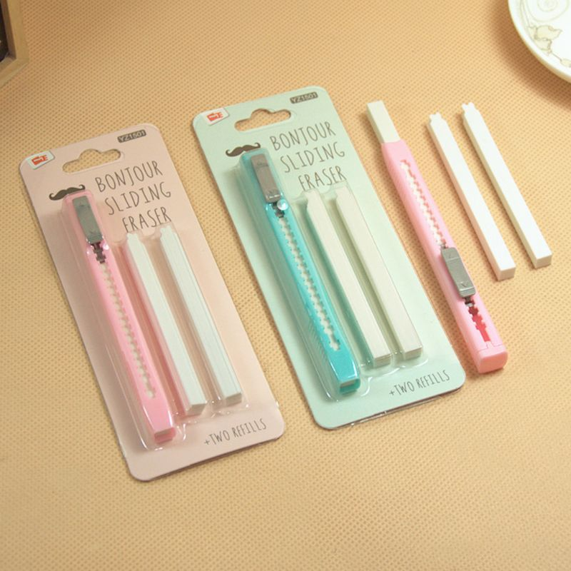 1 Set Scalable Refills Eraser Knife Shape Rubber Eraser Set Have Two Refills Office School Supplies