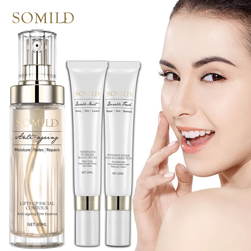 SOMILD Anti Aging Skin Care Set Whitening Emulsion Face Lift Lotion Dark Circle Wrinkle Removal Eye Cream Facial Essence Korean image