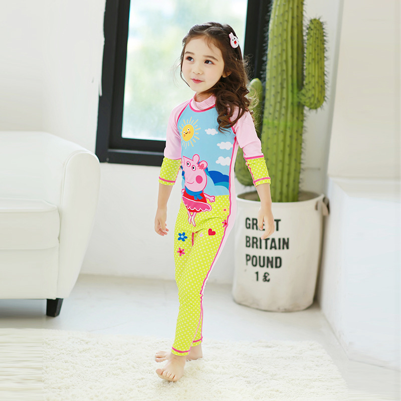 2017 New Style KID'S Swimwear Long Sleeve Sun Protection Clothing GIRL'S One-piece Swimsuit Printed Baby Swim Bathing Suit