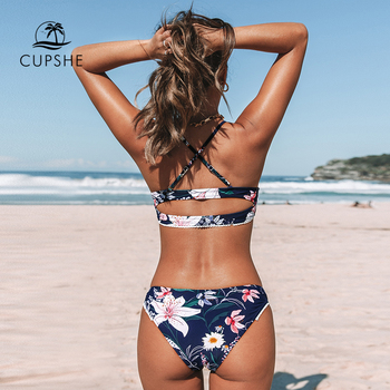 CUPSHE Navy Floral Cut Out Bikini Sets Sexy Low-waisted Buttons Swimsuit Two Pieces Swimwear Women 2020 Beach Bathing Suits 1