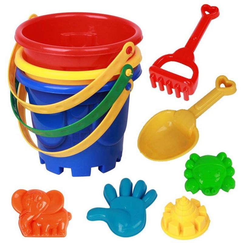 Beach Bucket Children's Beach Toy Set Play Sand Draining Tools - Random Color 7 Piece Set
