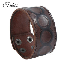 Brown Genuine Leather Cuff Wrap Bracelet Creative Imprint Round Wide Male Bangles Vintage Punk Style