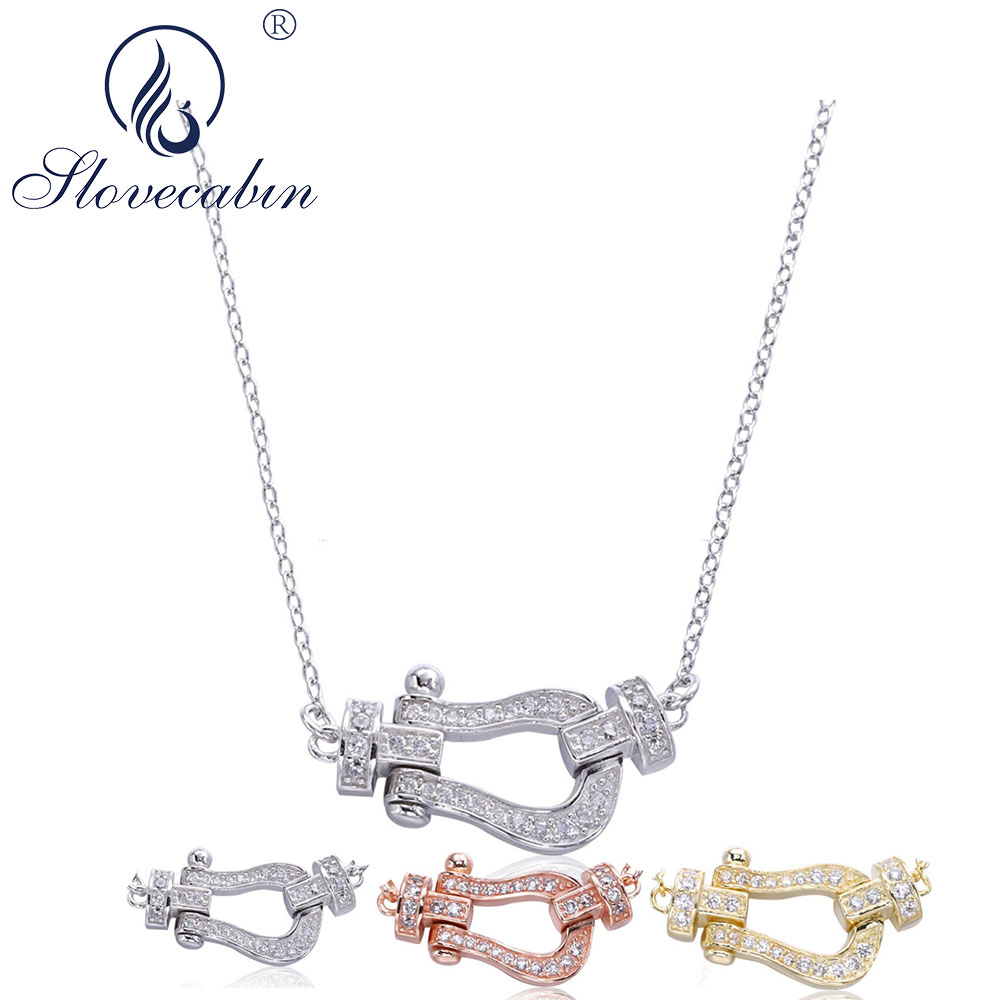 Slovecabin 3 Style Authentic 925 Sterling Silver Pendant Necklace Wholesale Japan Jewelry Long Chain Zircon Necklace