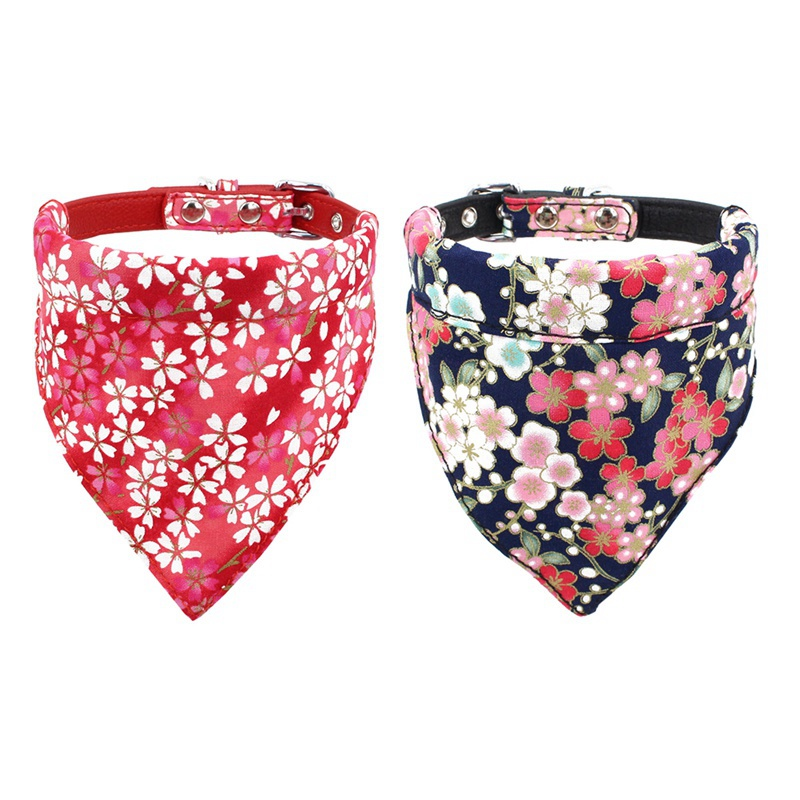 font b Pet b font Triangular Scarf Cat Dog Bandanas Sakura Flower Printing Bowtie Washable