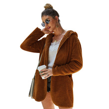 Womens Flocking Wool Coats Fashion 2019 Autumn Winter Coat New Velvet Hooded Long Solid Color Loose Cashmere Jackets Lady