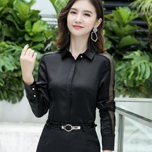 Image 3 - Fashion Women Shirt New Spring Autumn Temperament Long Sleeve Formal Slim Satin Blouses Office Ladies Plus Size Work Tops