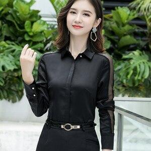 Image 3 - Moda feminina camisa nova primavera outono temperamento manga longa formal magro cetim blusas escritório senhoras plus size trabalho topos