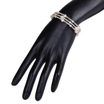 Multiple Rows Crystal Pearl Adjustable Bracelet  5
