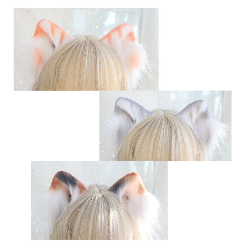 Origional Hand Made Tabby CAT Ears Artificial CAT Ears Side Clip COS Plush Animal Ear Three Flowers CAT Ears Lolita Ear Аксессуары для костюмов для мальчиков      АлиЭкспресс
