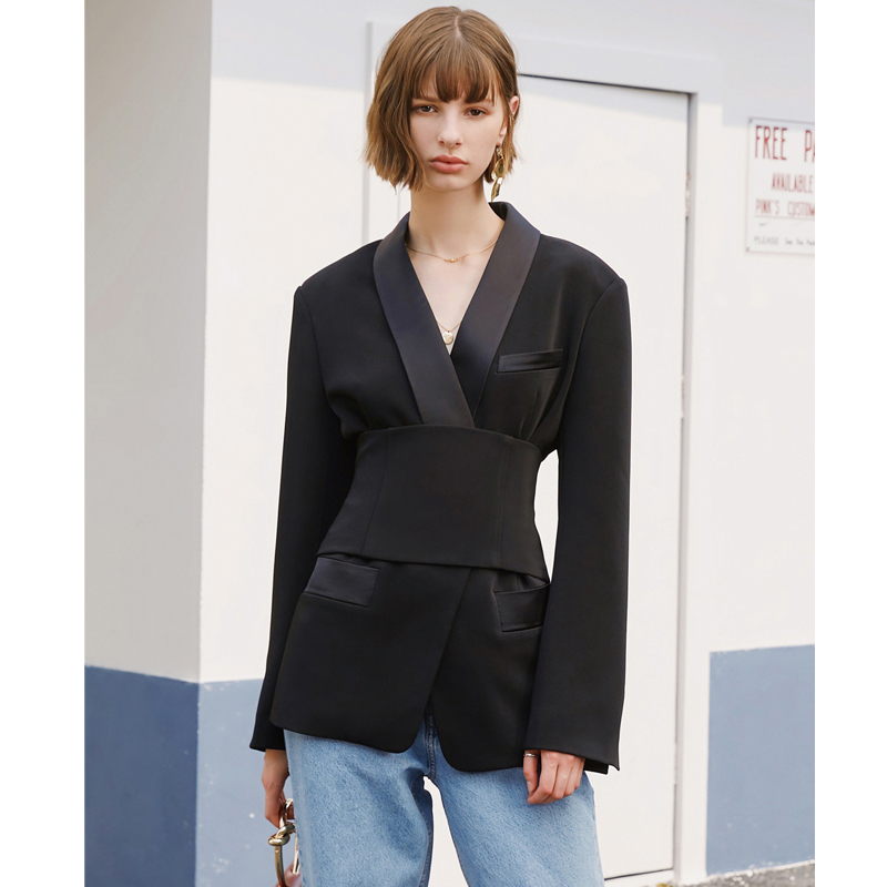 AEL Women's Blazer Jacket Black With Cummerbund Female Autumn Streetwear Lady Jackets 2019 Elegant Outwear Blazers