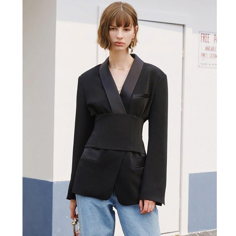AEL Women's Blazer Jacket Black With Cummerbund Female Autumn Streetwear Lady Jackets 2019 Elegant Outwear Blazers