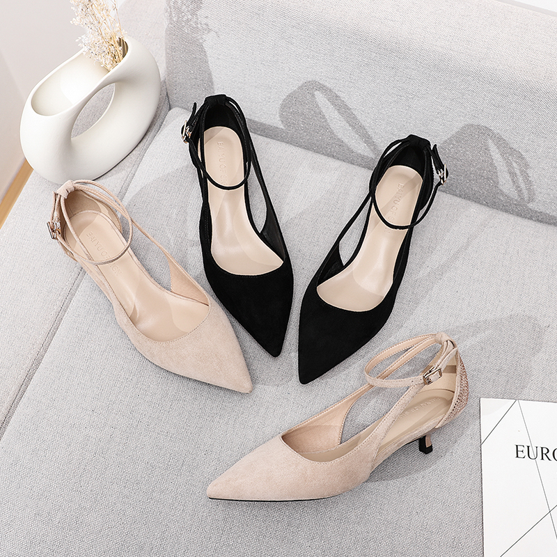 Low Heels 2019 Chic Woman Shoes Hollow Pumps Buckle Pointed Toe Suede Crystal Rhinestone Thin Heel Fashion Wild Solid Nude Black
