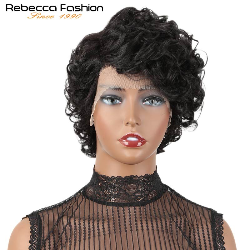 Rebecca Mix Color Short 4 Cute Pixie Cut Wigs Loose Curly Hiar Peruvian Remy Human Hair Wigs For Women Black Brown Free Shipping
