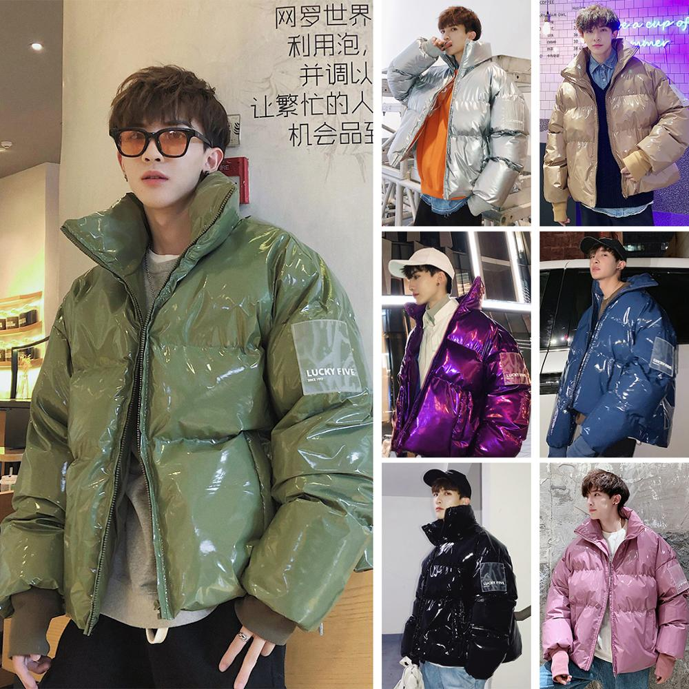 2019 NEW Winter Collar Loose Bright Leather Fabric Jacket Wind Thick Warm Coat Men Women Couple Purple Cotton Clothing