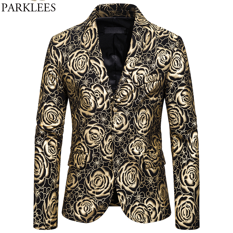 Stylish Rose Gold Bronzing Party Blazer Jacket Men 2019 Brand Nightclub Party Wedding Mens Blazers Stage Prom Costume Homme 2XL