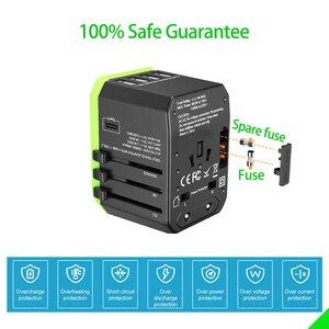 Image 3 - Adaptador de viaje Universal cargador de pared internacional adaptador de enchufe de CA con potencia inteligente de 5,6a y USB tipo C de 3,0a para EE. UU., UE, Reino Unido y Australia