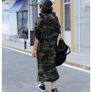 Image 4 - Осеннее базовое платье с капюшоном, свитшоты, женские модные корейские камуфляжные толстовки, новая длинная верхняя одежда, повседневные пуловеры с разрезом