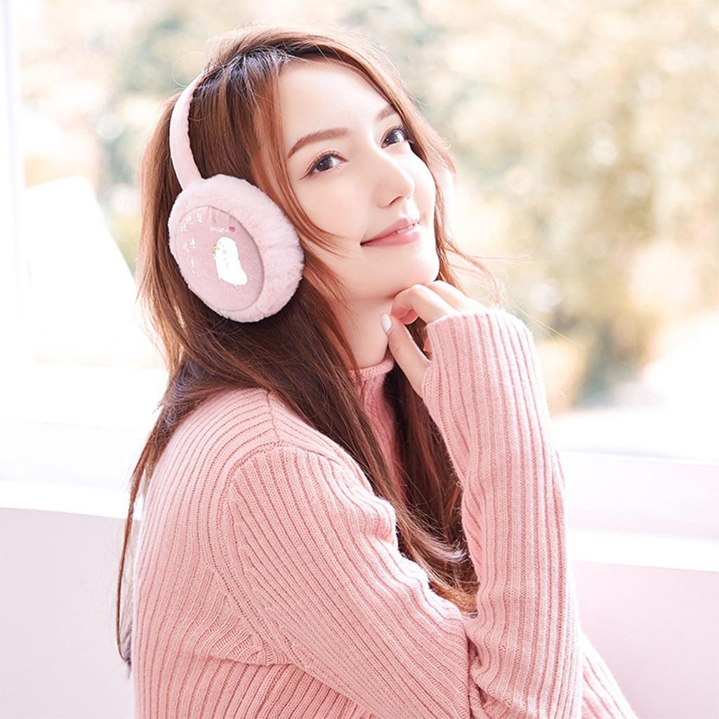 Fashion Female Girl Fur Winter Foldable Ear Warm Earmuffs Sequins Plush Headdress Latest 9.30