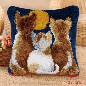 Image 4 - Smyrna Latch Hook Pillow Cute Cat Carpet Embroidery Do It Yourself Carpet Cushion Button Package Latch Hook Rug Kits knoopkussen