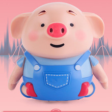 Cute Pig Robot Inductive Line Drawing Toys with Light Music Education Toy Pen +USB Charging Cable Dropshipping