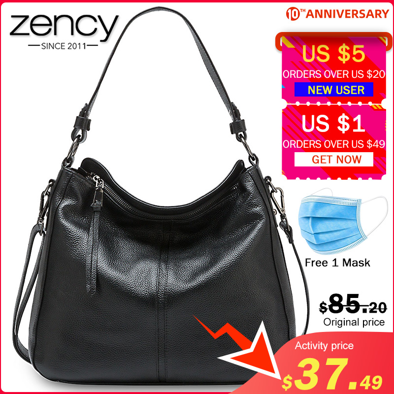 Zency 100% Genuine Leather Elegant Women Shoulder Bag Classic Black Hobos Roomy Casual Tote Handbag Crossbody Messenger Grey