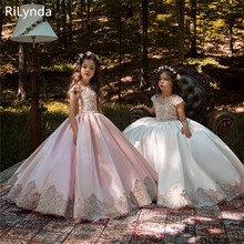 Dresses Ball-Gown Satin Tulle Puffy Lace Flower-Girl Long Kids Bow Ivory