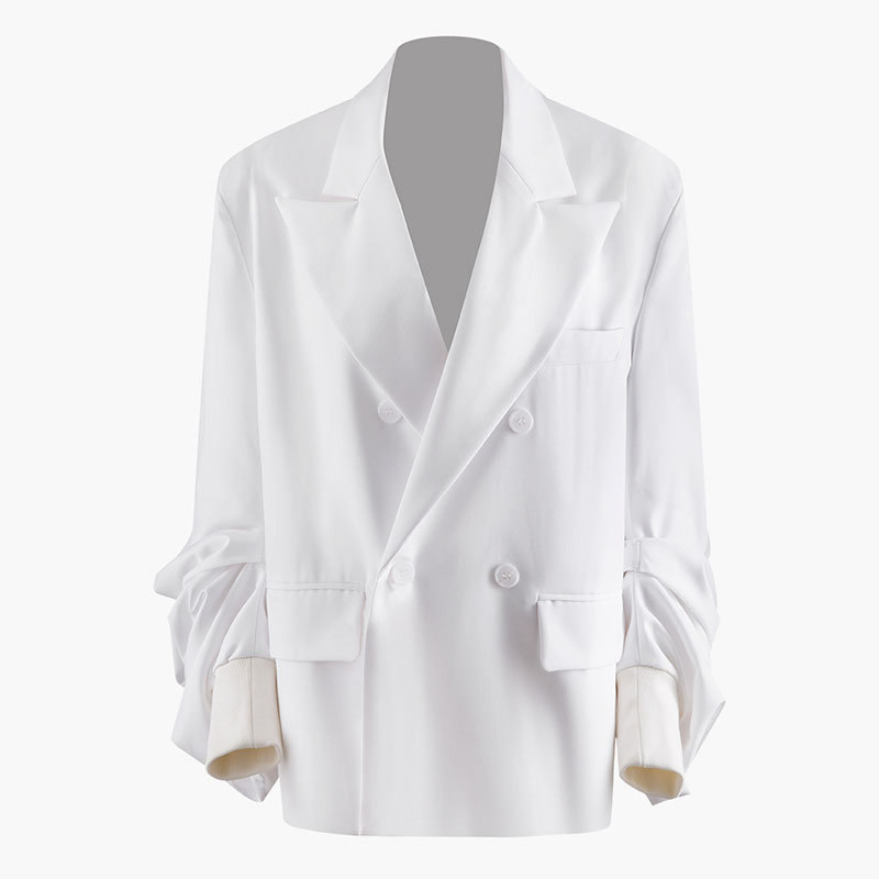 Women Fashion Blazer Double Breast Pocket Minority Casual Full Sleeve Small Fresh Patchwork Striped Coat Top GCC3238