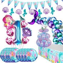 Pequena sereia fontes de festa oceano sereia festa de aniversário favores kit utensílios de mesa decoração do casamento 1st menina festa de aniversário decoração