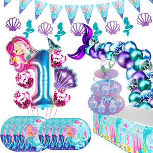 Little Mermaid Party Supplies Ocean Mermaid Birthday Party Favors Tableware Kit Wedding Decor 1st Girl Birthday Party Decoration