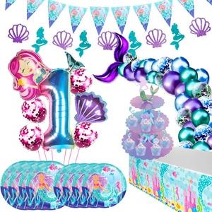 Little Mermaid Party Supplies Ocean Mermaid Birthday Party Favors Tableware Kit Wedding Decor 1st Girl Birthday Party Decoration