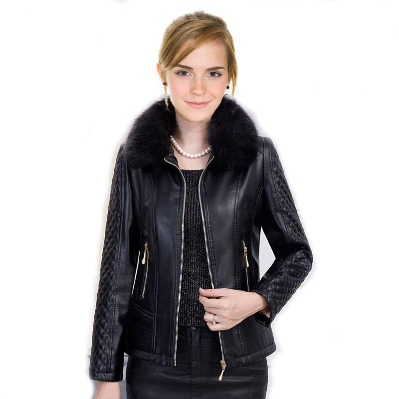 New 2019 fashion autumn winter plus size 5XL   leather   coat women warm fake fur collar short leahter jacket ladies red outerwear