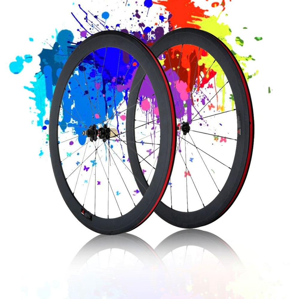 Roue de vélo 3K en carbone mat 700C roues de vélo de route jante 50mm + rayons + moyeu + brochettes à levier à dégagement rapide + plaquettes de frein