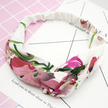 Vintage quebrado flor cruz senhora faixa de cabelo verão elástico respirável impresso cabelo círculo feminino esporte bandana banda capilar