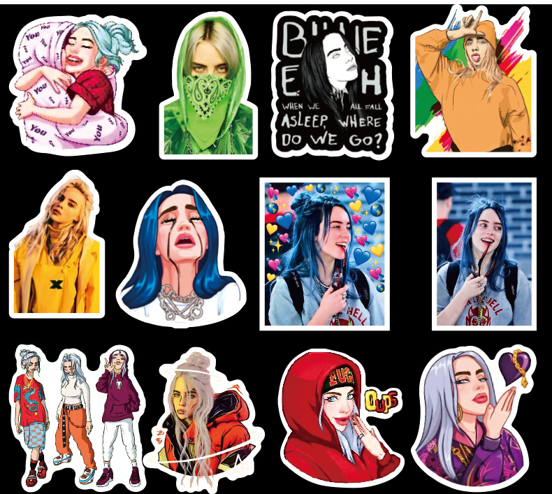 50Pcs Billie Eilish Cartoon Sticker Waterproof Suitcase DIY Laptop Guitar Skateboard Toy Lovely Stickers