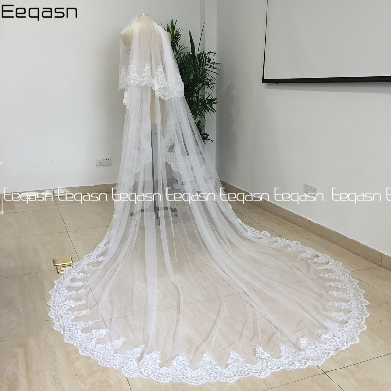 Real Photos Shiny White/Ivory Cathedral Sequined Lace Wedding Veil with Comb 2 Layer Bridal Veil Wedding Accessories Bride