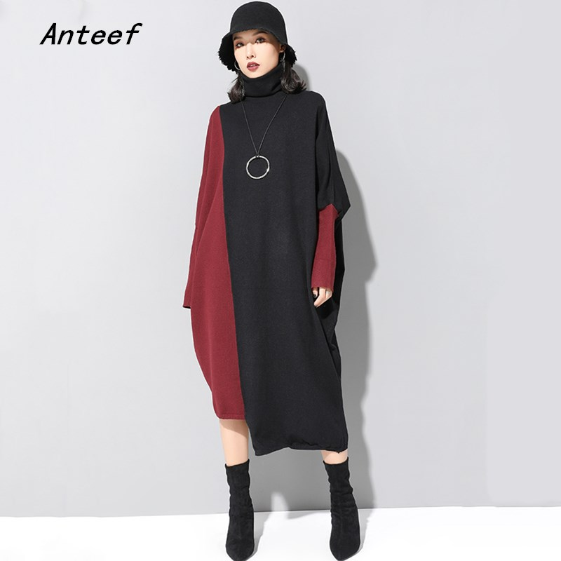 Manches longues tricoté grande taille vintage femmes décontracté lâche automne hiver pull robe vêtements élégants 2019 dames robes