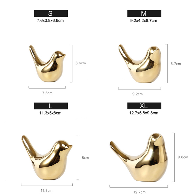Polar House Golden Bird Figurines Modern Ceramic Bird Statues Animal Sculpture Home Decoration Crafts Gold Ceramic Wedding Gifts 6