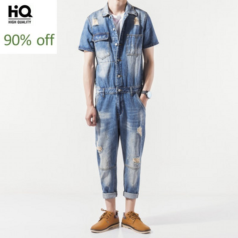 Streetwear Overalls New Fashion 2020 Summer Jeans Workmens Casual Pockets Short Sleeve Men Tops Hole Ripped Full Length Jumpsuit