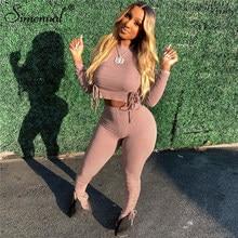 Simenual Fitness ze ściąganym kapturem, długa rękaw Bodycon zestawy dwuczęściowe kobiety jesień 2021 krótka koszulka na co dzień i Ruched spodnie pasujący zestaw Hot