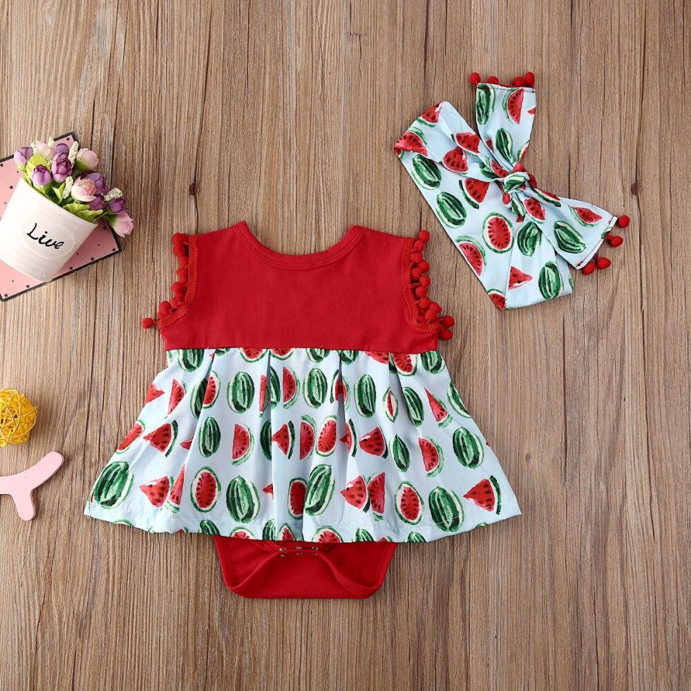 Pudcoco Newborn Baby Girl Clothes Sleeveless Tassel Watermelon Print Ruffle Romper Jumpsuit Headband 2Pcs Outfits Sunsuit