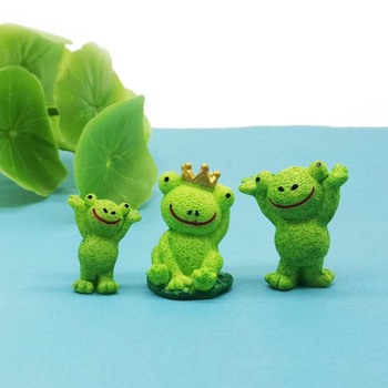 Adorno de jardín de hadas miniatura de animales de rana de 3 piezas, decoración de cristal DIY, figura pequeña, figura, figura, modelo, artesanía, decoración del hogar
