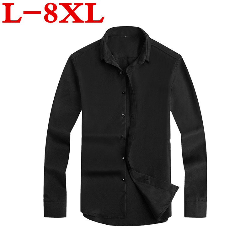 New Plus Size 8XL  Men Shirt Brand   Male Large Size Long Sleeve Shirts Casual Plaid Slim Fit Black Male Lapel Dress Shirts