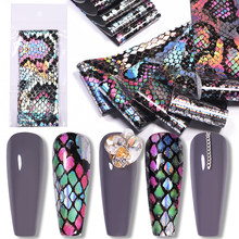 Nail Art Foil Stickers Holographics Snake Leopard Design Transfer Slider Adhesive Decals 3D Accessories Nails Decoration(China)