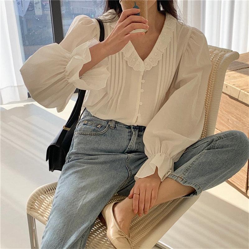 Alien Kitty Spring New Hot Sweet Chic V-Neck Pleated Ruffles Shirts 2020 Gentle Office Lady Cute Elegance Streetwear Blouses