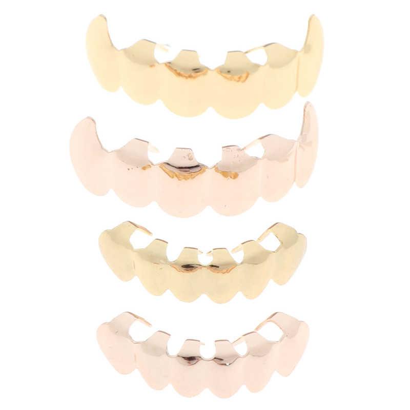 Новинка Хип-хоп золотые радужные зубы Grillz верхнее дно красочные грили стоматологические зубы вампира Хэллоуин игрушки