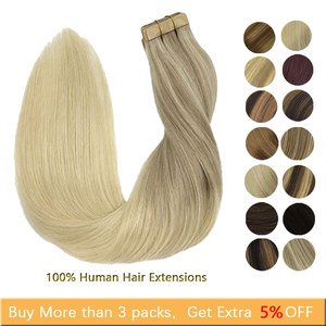 Tape in Hair Extensions Seamless Straight Human Hair Extensions Skin Weft Remy Hair Adhesive 14