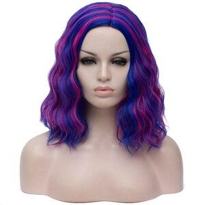 Image 4 - MSIWIGS Brevi Cosplay Parrucche per le Donne di Colore del Rainbow Parrucche Ondulate Lato Centrale Linea Sottile Cos Sintetico Rosa Netto Dei Capelli Ombre