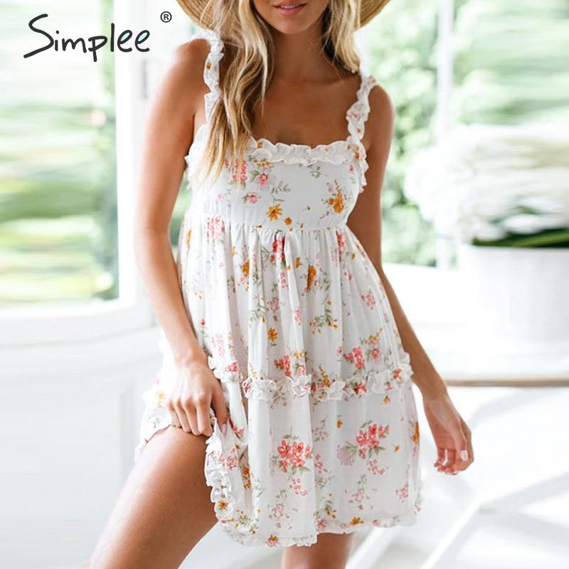 Simplee Ruffle Spaghetti Straps Women Floral Dress Backless Lace Up Female Mini Dresses High Waist Spring Summer Holiday Dresses